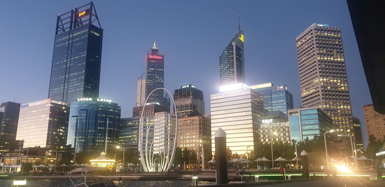 landscape photo of Perth CBD at dusk