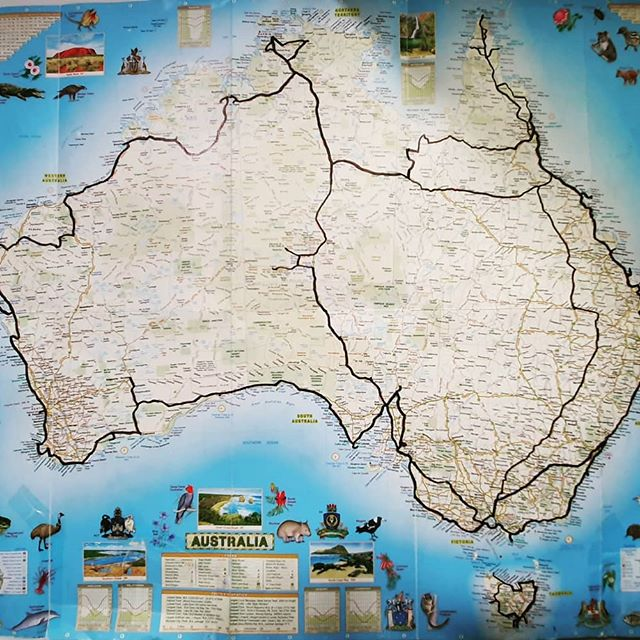 Map of Australia with a trip plan drawn on it