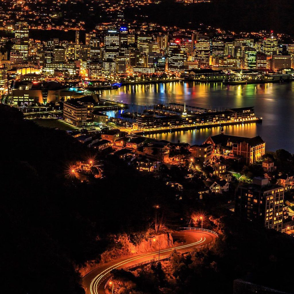 Night time photo of Wellington city, New Zealand