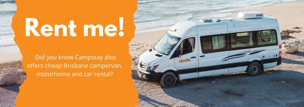 campervan parked on the beach banner